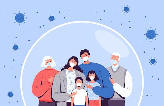 Familie in medische maskers staat in een beschermende zeepbel. volwassenen, ouderen en kinderen worden beschermd tegen het nieuwe coronavirus covid-2019.