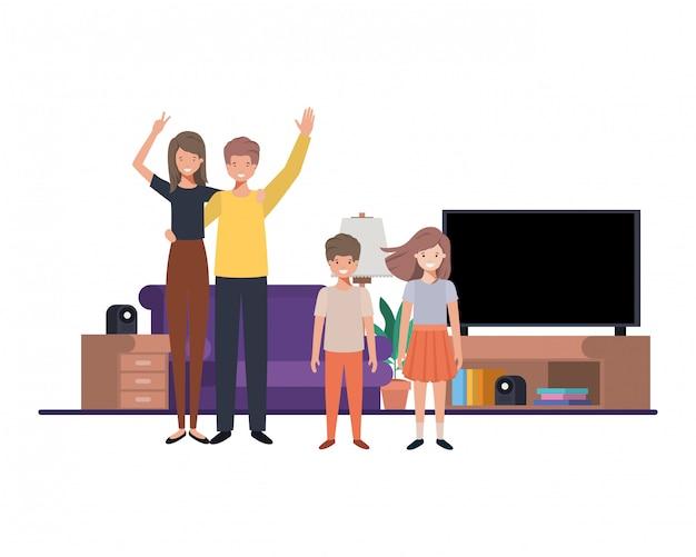 Familie in woonkamer avatar karakter