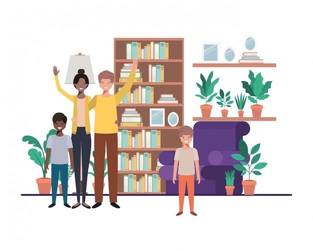 Familie in woonkamer met bibliotheekavatar karakter