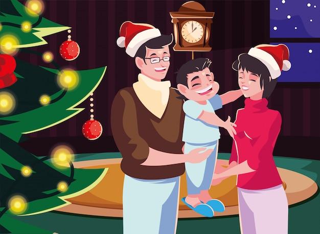 Familie in woonkamer met kerstmisdecoratie, de scène van de kerstmisavond