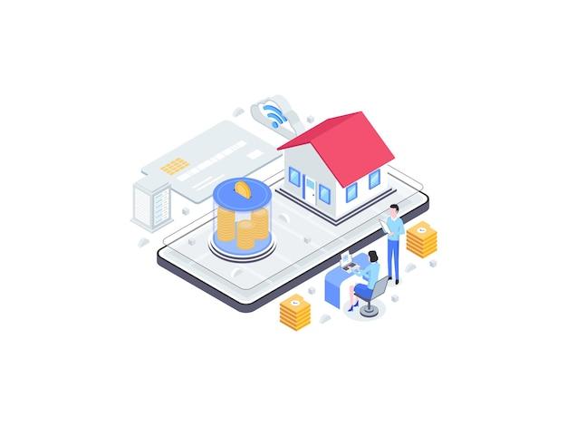 Familie investeringen isometrische vlakke afbeelding. geschikt voor mobiele app, website, banner, diagrammen, infographics en andere grafische middelen.