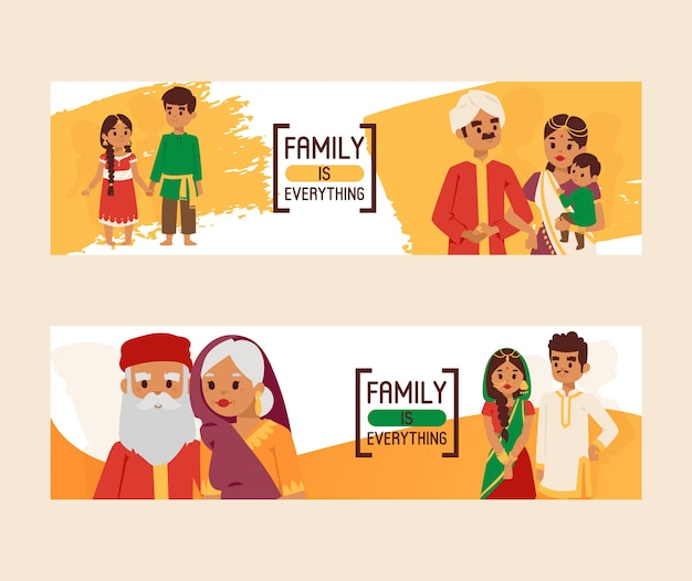 Familie is alles banners. grote gelukkige indiase familie in nationale klederdracht. ouders, grootouders en kinderen stripfiguren.