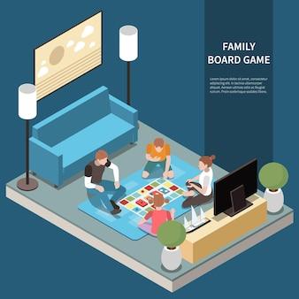 Familie isometrische vrijetijdsspeelsamenstelling met de kop van het familiebordspel en moeder, vader en kinderen spelen het spel