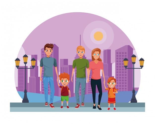 Familie jonge ouders met kinderenbeeldverhaal