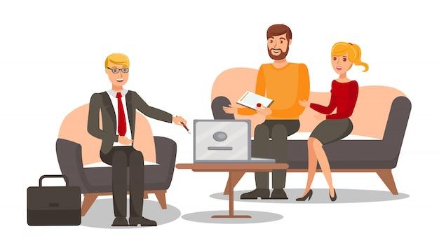 Familie jurist raadpleging van platte vectorillustratie