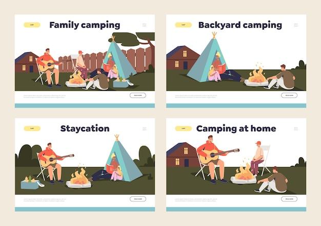 Familie kamperen op achtertuin concept
