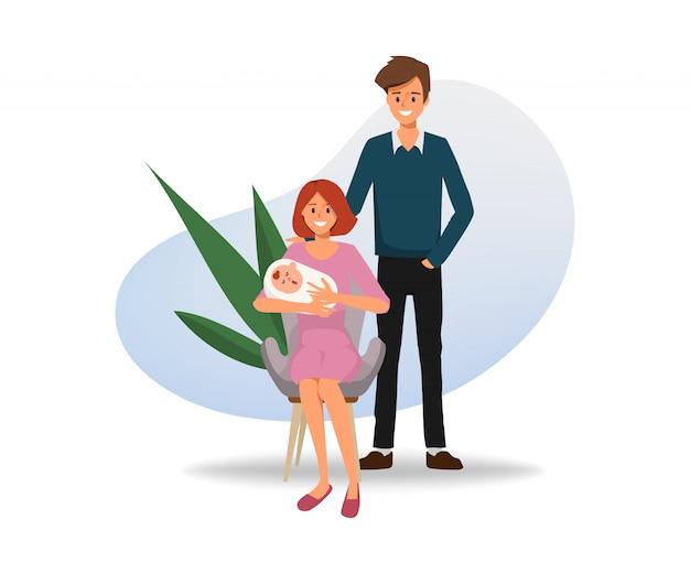 Familie karakter met moeder en baby en vader.