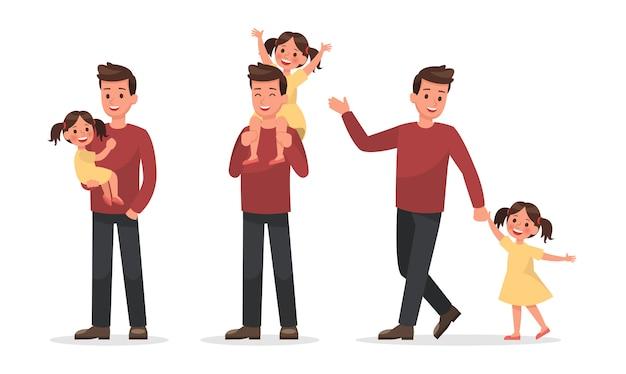 Familie karakter ontwerpset 3