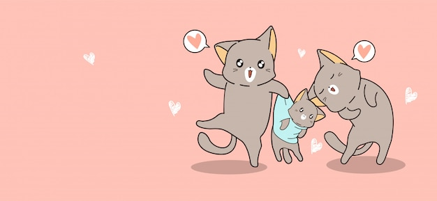 Familie kat in cartoon-stijl