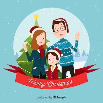 Familie kerst portret achtergrond