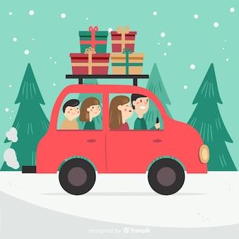 Familie kerst reis achtergrond