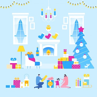 Familie kerstviering, kerstmis kamer interieur met ouders en kinderen,