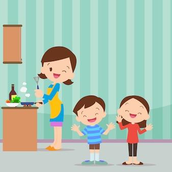 Familie keuken wees blij