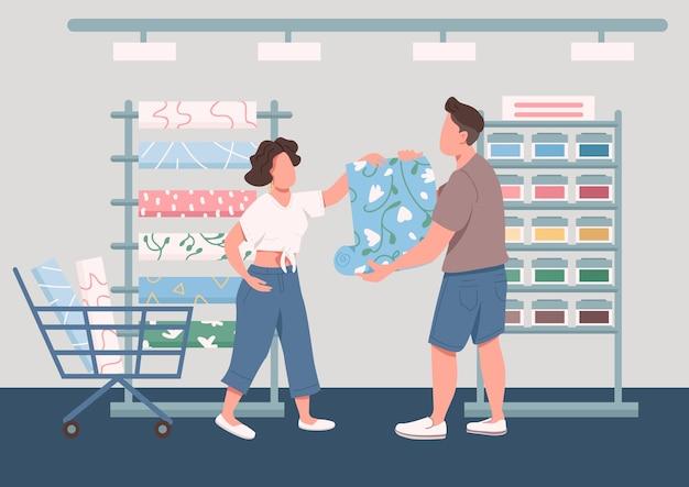 Familie kiezen nieuwe wallpapers egale kleur illustratie