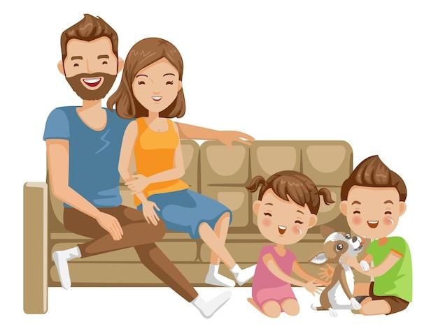 Familie kind en hond op tapijt thuis.
