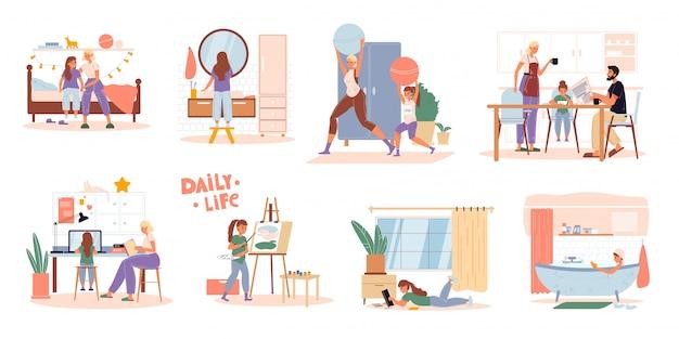 Familie kinderen dagelijkse routine-scèneset