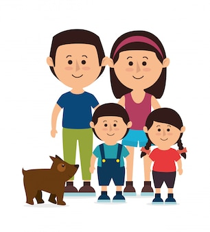 Familie kleurrijke cartoon