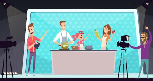 Familie kookprogramma. tv-entertainment, ouders en kind op keuken. schietprogramma met regisseur vectorillustratie. familie koken eten online show, koken diner maaltijd