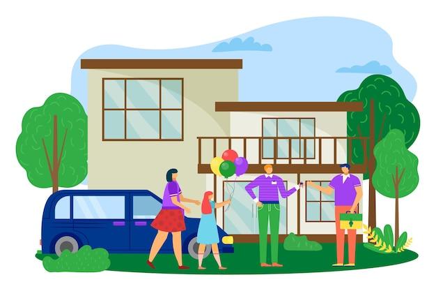 Familie kopen huis, vectorillustratie. man vrouw karakter in de buurt van huis, makelaar geeft sleutel van nieuw onroerend goed, aankoop van appartement. residentieel onroerend goed voor moeder, vader, dochter met ballon.