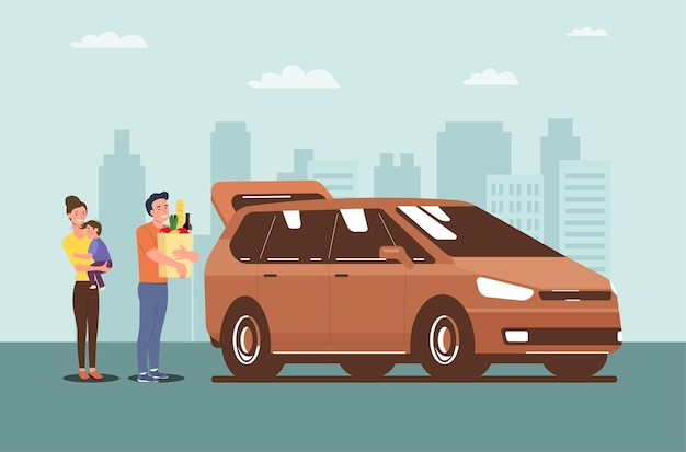 Familie laadt gekochte boodschappen in hun minibus. vector illustratie.