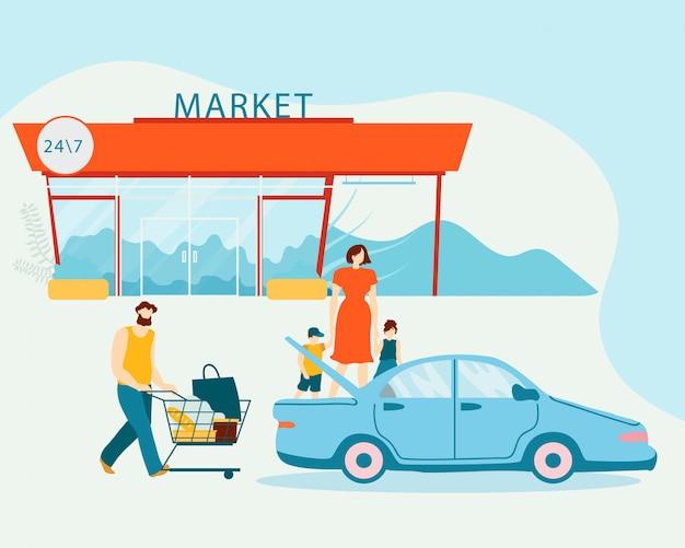 Familie laden aankopen in auto na het winkelen