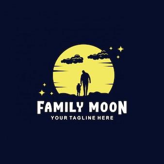 Familie maanlogo met plat ontwerp