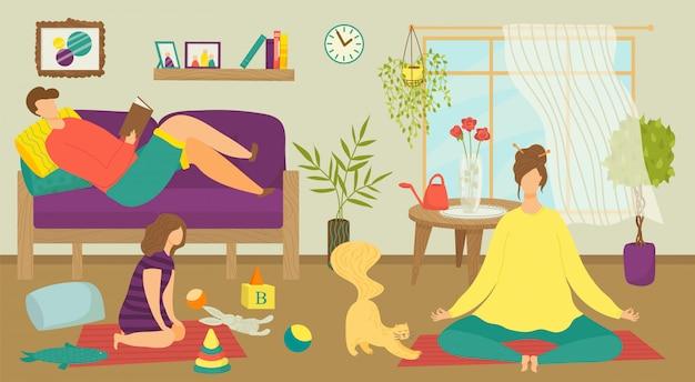 Familie man vrouw mensen samen thuis kamer, illustratie. persoon rust op de bank, gelukkig karakter bij het interieur van het huis. paar en kind vrije tijd, vader moeder ontspannen binnen.