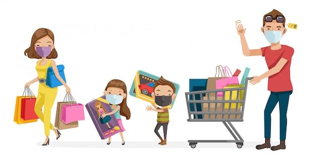 Familie masker winkelen. nieuw normaal concept. anti-epidemie illustratie, covid-19 voor warenhuizen. ouders en kinderen die een chirurgisch masker dragen. maatschappelijke afstand en nieuw normaal concept.