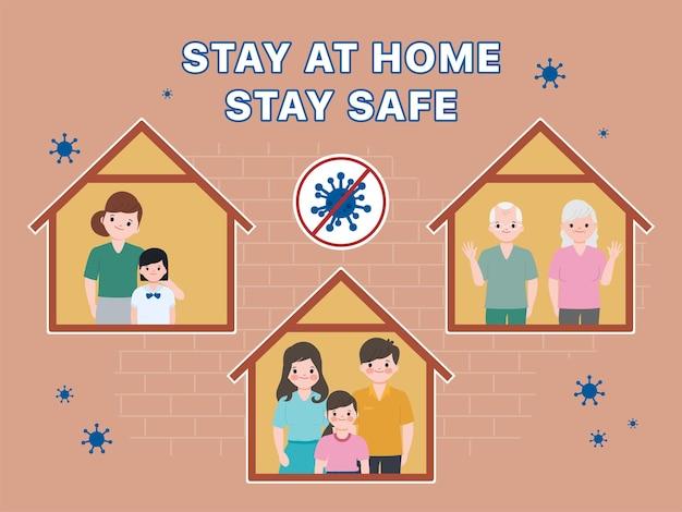 Familie mensen blijven thuis bij geliefden en ouders.