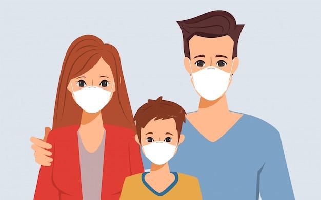 Familie mensen in quarantaine die een gezichtsmasker dragen en zich aanpassen aan de nieuwe normale levensstijl.