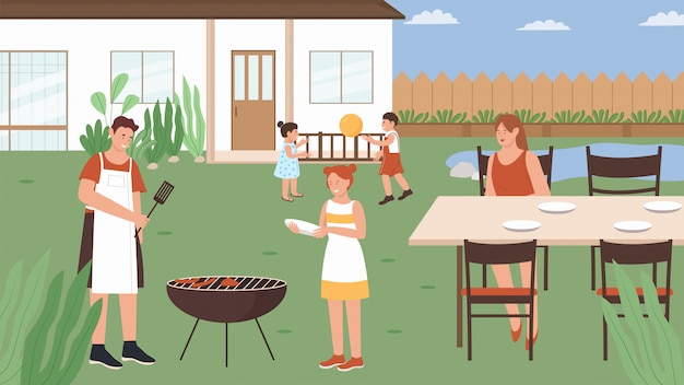 Familie mensen in zomer picknick illustratie. cartoon gelukkige moeder vader picknickers grill vlees worstjes, leuke karakters voor kinderen spelen spel. bbq-party, outdoor weekend activiteit achtergrond