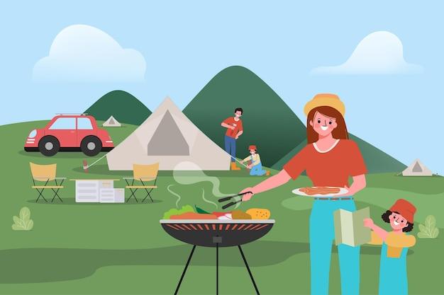 Familie mensen kamperen buiten reizend concept.