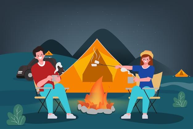 Familie mensen kamperen 's nachts buiten reizend concept.