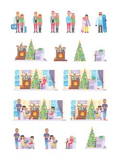 Familie mensen op kerst wintervakantie gelukkig samen rusten