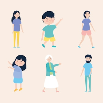 Familie mensen pictogram decorontwerp