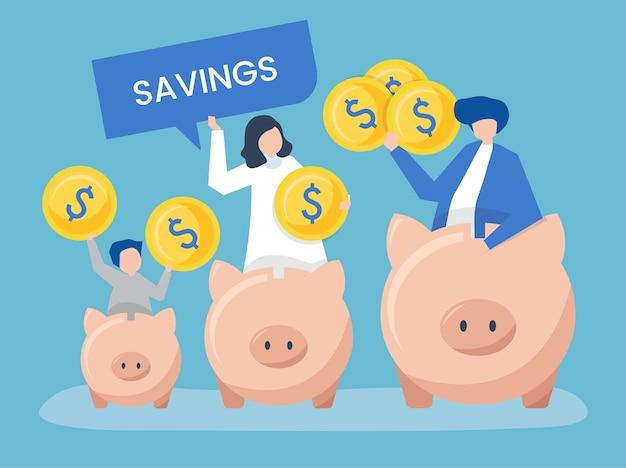 Familie met besparingen en de pictogrammenillustratie van het spaarvarken