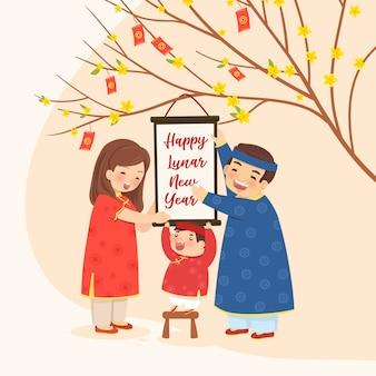Familie met een abrikozenboom