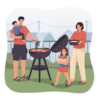 Familie met een barbecue party in de achtertuin
