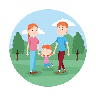Familie met hun dochter in het park