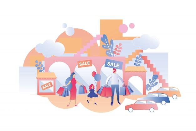 Familie met kind koop dingen op verkopen in winkels.