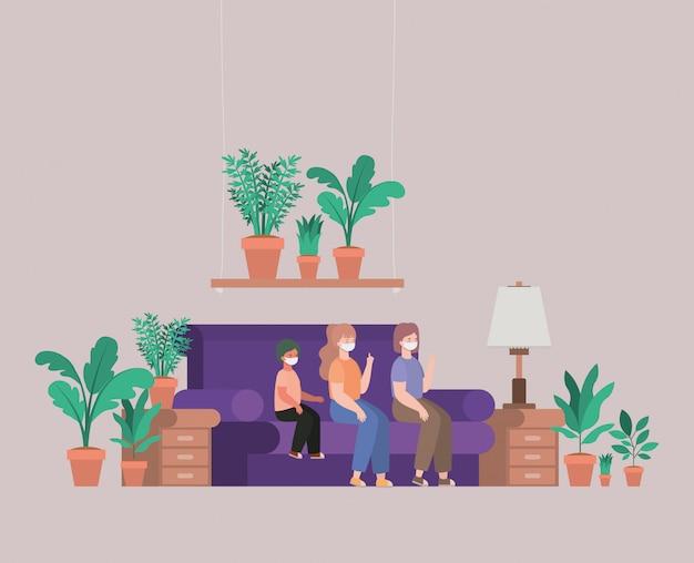 Familie met maskers thuis ontwerpen