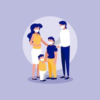 Familie met maskers voor cirkel