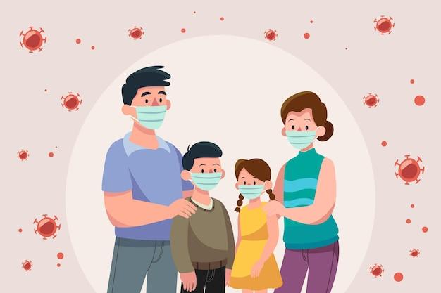 Familie met medische maskers beschermd tegen het virus