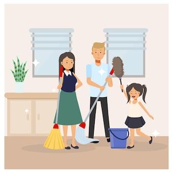 Familie, moeder, vader en dochter maken de kamer allemaal samen schoon. elkaar helpen. platte cartoon illustratie.