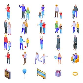Familie momenten iconen set, isometrische stijl