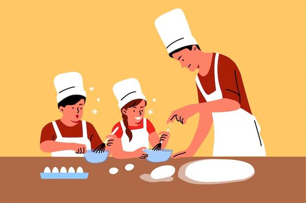Familie, onderwijs, vaderschap, jeugd, koken concept