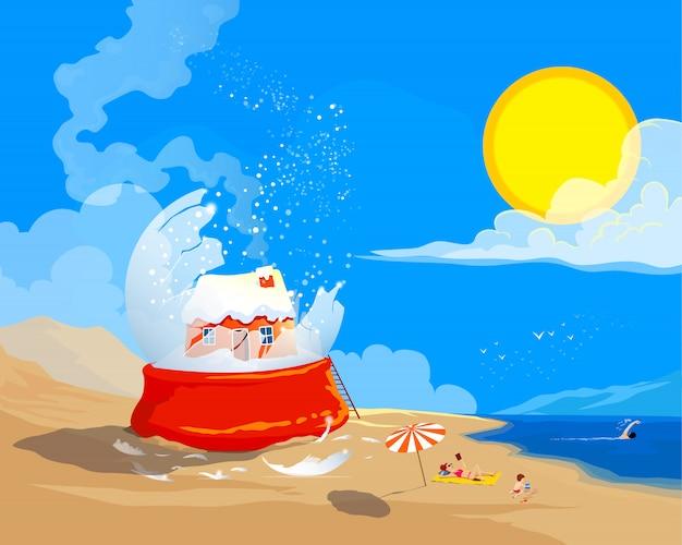 Familie ontsnapt uit sneeuwbol. zomer kerstthema cartoon stijl vectoral vlakke afbeelding.
