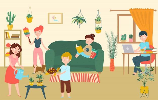 Familie ontspannen kamer, karakter vader moeder kinderen blijven thuis cartoon afbeelding. groepsmensen brengen tijd door met huishouden.