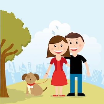 Familie ontwerp over landschap achtergrond vectorillustratie