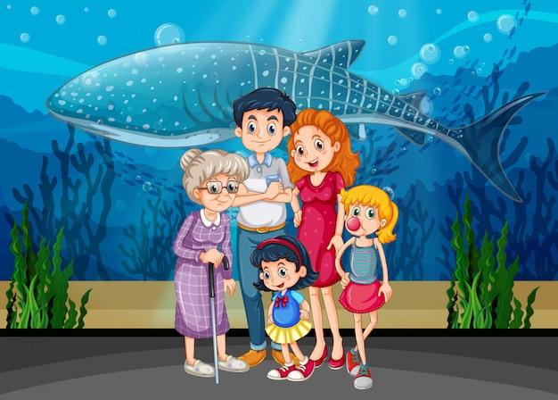 Familie op aquariumscène of achtergrond